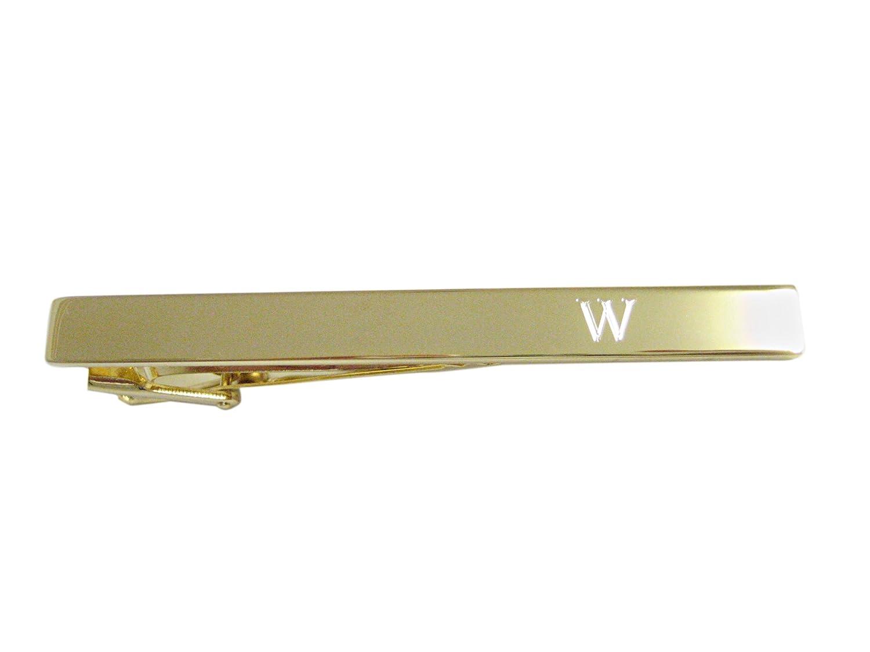 Gold Tonedエッチング文字WモノグラムSquareタイクリップ   B072N5FT4Q