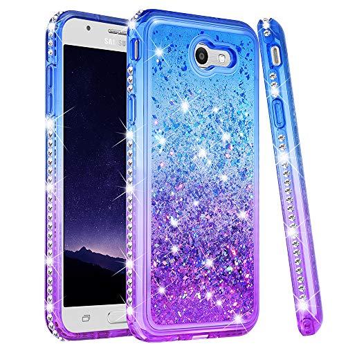 Ruky Galaxy J7 Sky Pro Case, J7 Prime, J7 V, J7 Perx, Halo Case, Gradient Quicksand Series Glitter Bling Girls Women Flowing Liquid Soft TPU Phone Case for Samsung Galaxy J7 2017 (Blue)