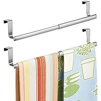 mDesign Adjustable, Expandable Kitchen Over Cabinet Towel Bar - Hang on Inside or Outside of Doors, Storage for Hand…