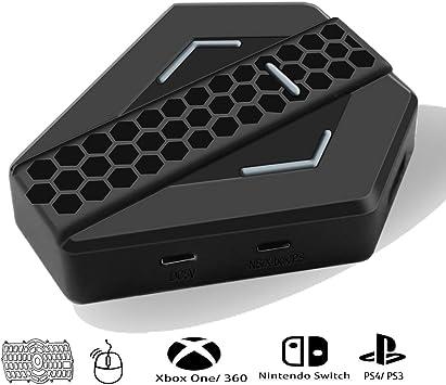Adaptador multifunción, ratón y teclado convertidor de control, de buena calidad, LED, luz para PlayStation 4, PS3, XBOX, One XBOX 360 Switch, mando Nintendo Combo, teclado y ratón USB puerto – negro: