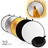 """LimoStudio 32"""" 5-in-1 Photography Studio Collapsible Multi Photo Disc Reflector, 5 Colors White, Black, Silver, Gold, Translucent for Photo Video Studio, AGG2915"""