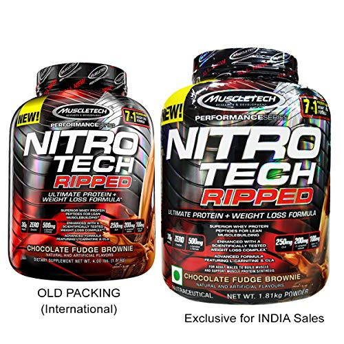 - MuscleTech Nitro Tech Ripped Ultra Clean Whey Protein Isolate Powder + Weight Loss Formula, Low Sugar, Low Carb, Chocolate Fudge Brownie, 4 Pounds
