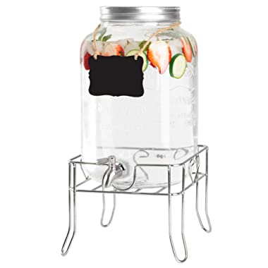 2 Gallon Glass Beverage Dispenser with Sturdy Metal Base, Stainless Steel Spigot & Hanging Chalkboard - Outdoor Drink Dispenser for Lemonade, Tea, Cold Water & More