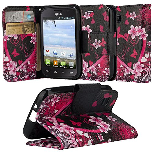 LG Optimus Dynamic II Case, LG Optimus Dynamic 2 Wallet Case, SOGA® [Pocketbook Series] PU Leather Magnetic Flip Design Wallet Case for LG Optimus Dynamic II 2 L39C - Pink Heart With Flower (Lg Optimus Dynamic Ii Cases compare prices)