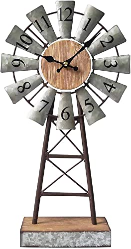 MODE HOME Galvanized Windmill Table Clock on Stand Vintage Desk Clock Decorative Farmhouse Kitchen Clock Mantle Clock