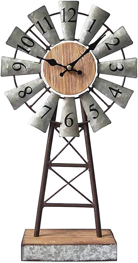 Amazon Com Mode Home Galvanized Windmill Table Clock On Stand Vintage Desk Clock Decorative Farmhouse Kitchen Clock Mantle Clock Home Kitchen