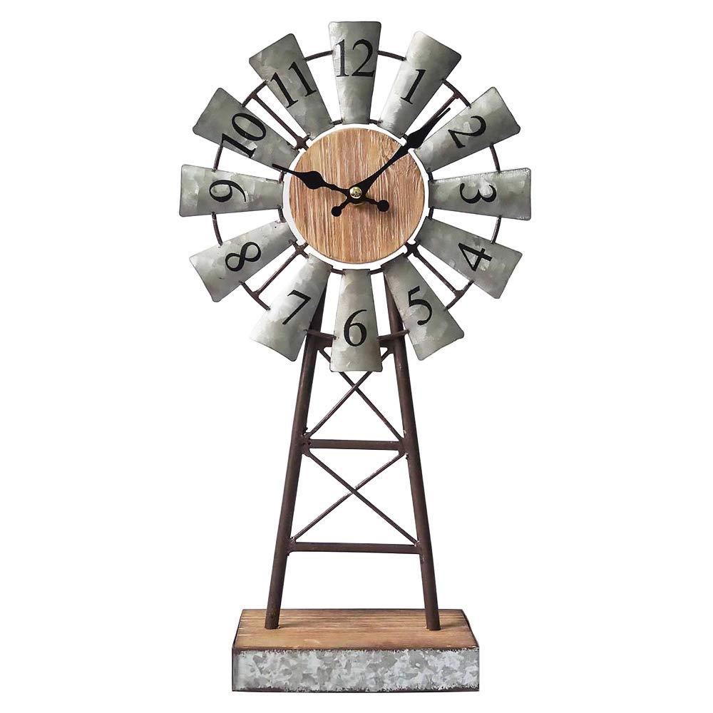 MODE HOME Galvanized Windmill Table Clock on Stand Vintage Desk Clock Decorative Farmhouse Kitchen Clock Mantle Clock
