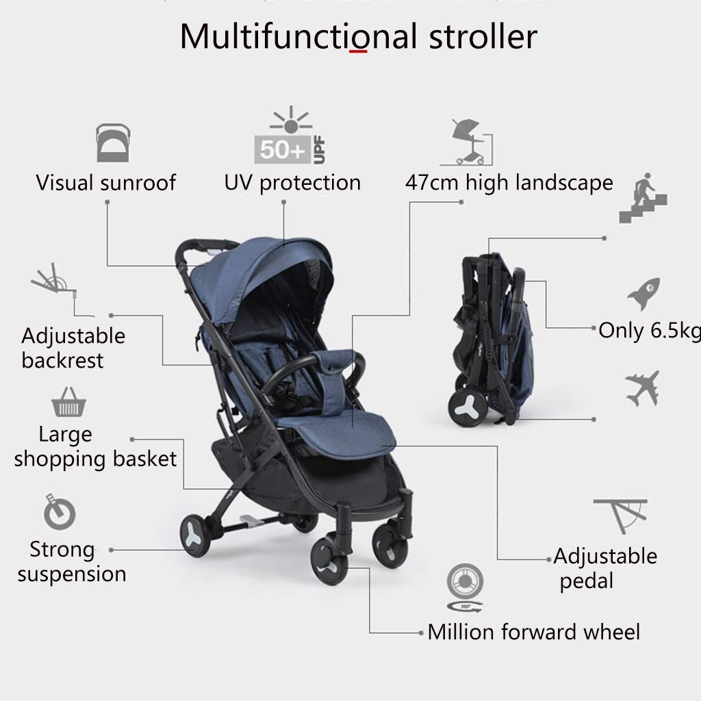 Lightweight Baby Stroller Universal Baby Sun And Sleep Stroller Cover - Baby Pram Sunshade Newborn Buggy Canopy Toddler Pushchair Infant Prams Sun Shade Ultraviolet-proof Cover, Black ( Color : Gray ) by Heay (Image #2)