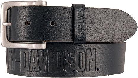 Black HDMBT11516 Harley-Davidson Mens Embossed Flames Genuine Leather Belt