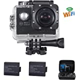 WIFI Sports Camera Waterproof 2.0-Inch Black Diving 30M 170 Degree Wide Angle Underwater Action Camera With 2PCS Battery for Biking, Racing, Skiing, Motocross And Water Sports