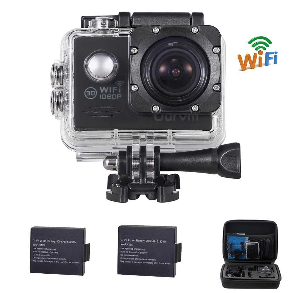 Underwater Camera 4K Action Camera WIFI Diving 30M Waterproof Camera With 2.4G Remote Control And 2PCS Battery for Car, Motorcycle, Bike, Hunting, Biking, Racing, Skiing And Water Sports ODRVM OD9000R-WIFI-DK-BLUE