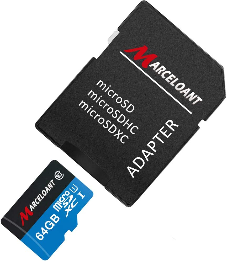 TF Card 64GB, Marceloant Micro SD Memory Cards Class 10 microSDXC UHS-I Card with Adapter, Black/Blue, Standard Packaging