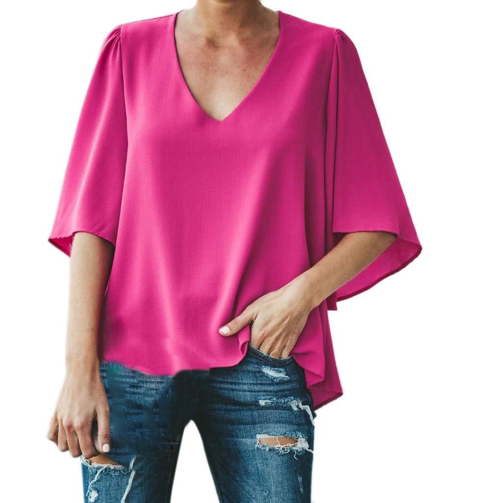 Pervobs Women Ladies Loose Swing Tunic Casual Half Sleeve V-Neck Soild T-Shirt Tee Blouse Tops(US: 6, Hot Pink)
