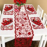 Kitchen & Housewares : Comken Valentine's Day Table Runner and Placemats- Red, Set of 5 | 1PC Lace Heart Table Runner (13 x 72 Inch) and 4 PCS Lace Table Placemats for Valentines Table Decorations Dinner Party Supplies