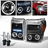 R&L Racing 6000K HID XENON+BLACK LED HALO PROJECTOR HEAD LIGHTS AM DY 11-16 FORD F250/F350