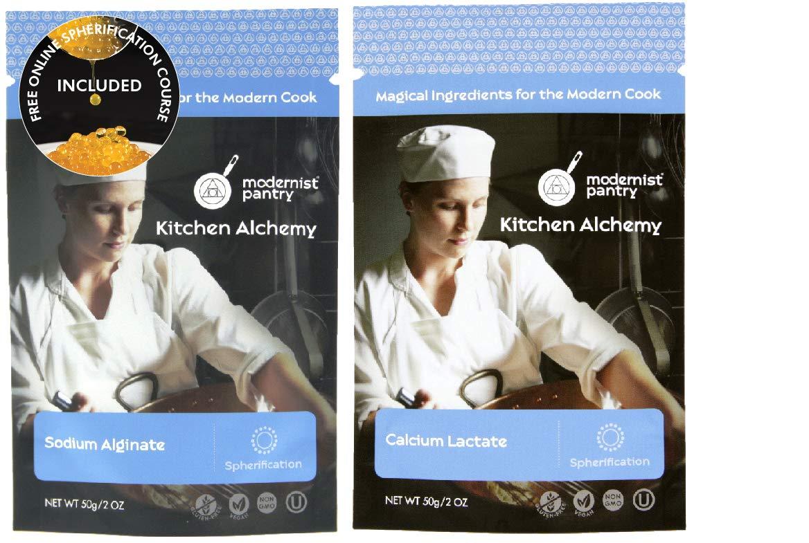 Sodium Alginate + Calcium Lactate Value Pack ⊘ Non-GMO ☮ Vegan ✡ OU Kosher Certified - 100g/4oz (Bundle with 2 items)