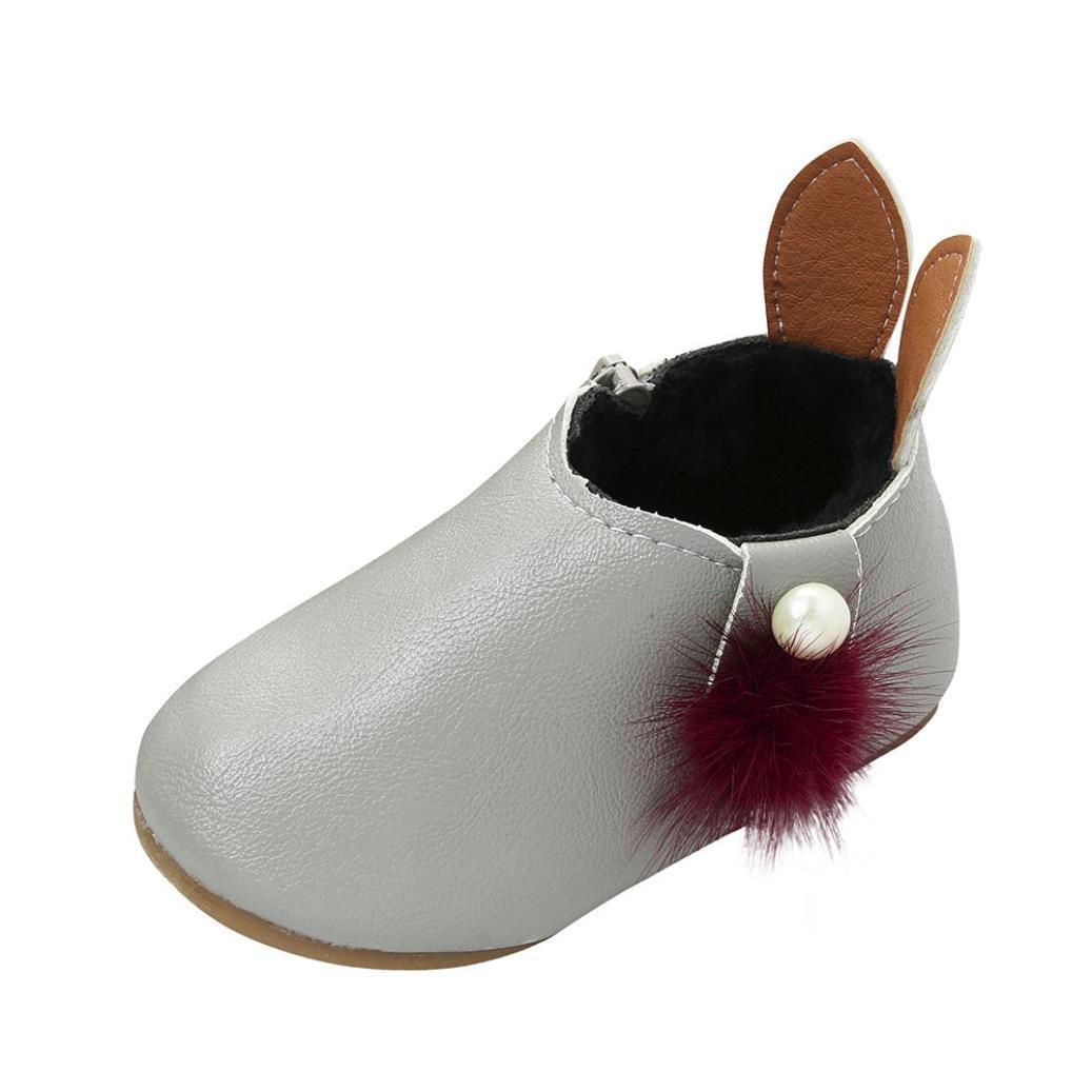 Sneaker Bottes Perle Enfant, QinMM Boule Poils Bébé Filles Mignon Lapin Oreilles Balle Chaussures