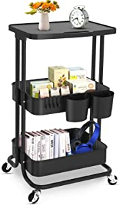 Bextsrack 3-Tier Rolling Utility Cart with Wheels, Multi-Purpose Rolling Storage Carts with Cover Plate and Handle, Mobile Storage Organizer for Kitchen, Bathroom, Office, Black