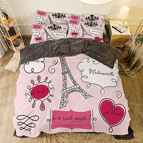 (Comfortable Bed Sheet Set with Bedding Pillow Case Cover for bed width 6.6ft Pattern by,Teen Room Decor,Doodle Frames French Style Rococo Baroque Lantern Mademoiselle Print Decorative,Hot Pink)
