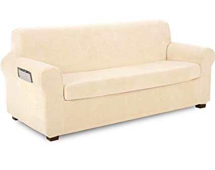 TIANSHU Fleece Slipcover 2 Piece, Velvet Plush Couch Cover for Sofa, Stylish Luxury Furniture Covers with Utility Pockets (XL Sofa, Ivory)