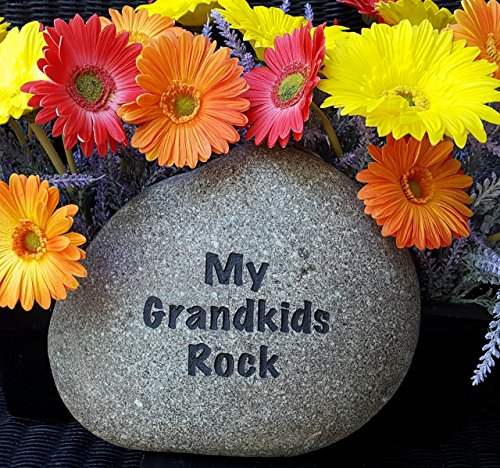 God Rocks My Grandkids Rock Engraved Garden Stone -