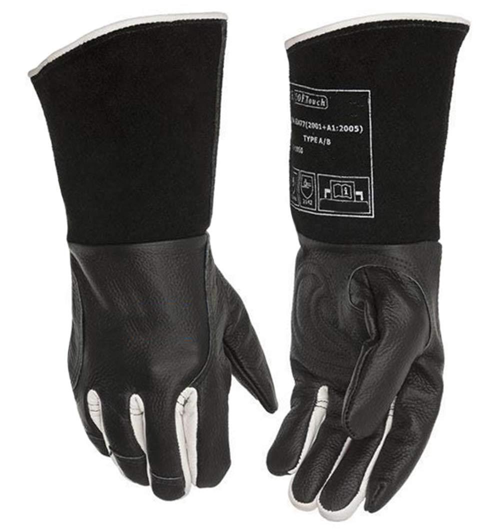 LKSDD Welders Gauntlet,Black Argon Arc Welding Gloves, TIG MIG MMA Cattle Leather Welding Work Gloves,XL