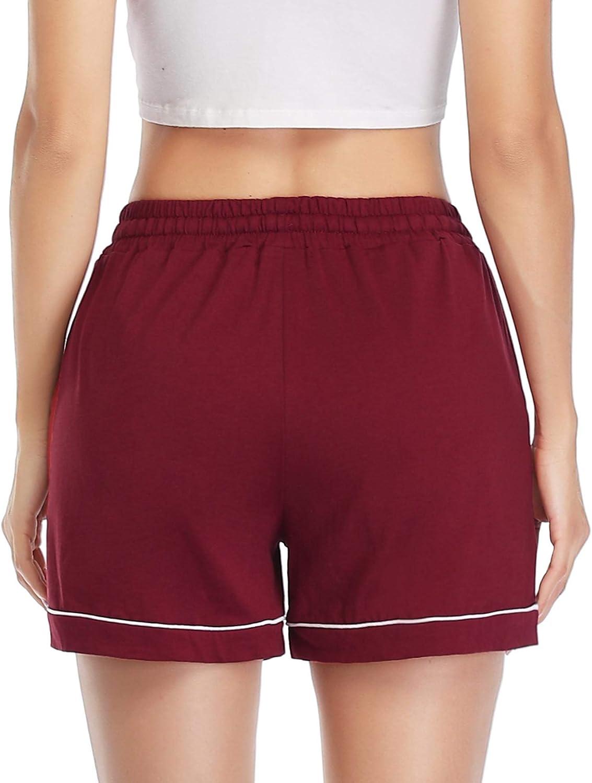 Akalnny Women s Shorts Soft Pyjama Bottoms with Drawstring Elastic Waist Running Sports Shorts with Pockets for Ladies Summer