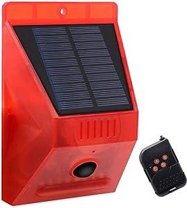 129db Solar Alarm Lamp Strobe Light Infrared Motion Sensor Waterproof Remote Controll 8-LED Lights