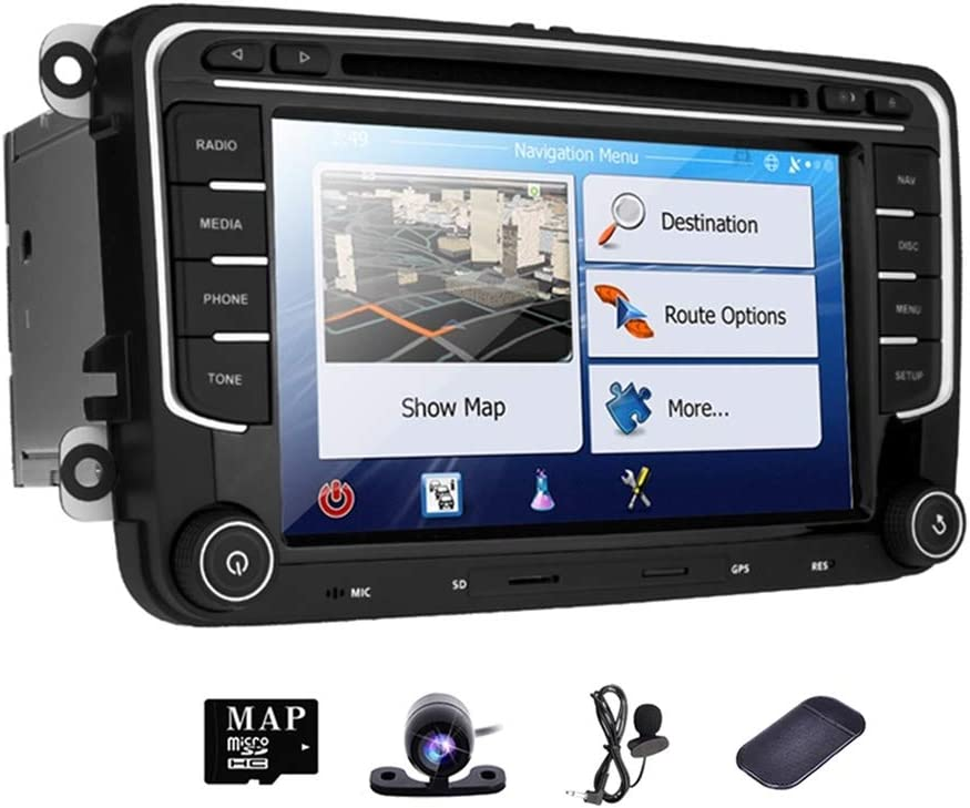 Car Radio DVD GPS Stereo Player for VW Jetta Golf 6 Passat Polo Tiguan Seat Leon Skoda Octavia Double 2 Din 7 inch in Dash HD Touch Screen Navigation FM AM Navi Camera