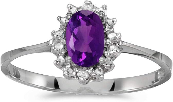FB Jewels 10k White Gold Genuine Birthstone Solitaire Round Gemstone And Diamond Heart Wedding Engagement Statement Ring