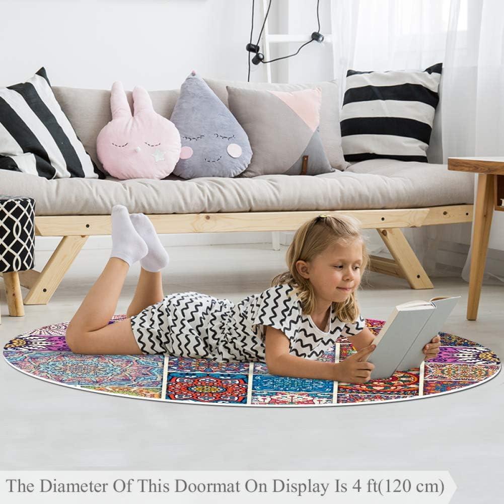 Kinderzimmer Balkon Wetia Klassisches Mandalamuster 2 Runder Teppich f/ür Kinder rutschfeste Au/ßenteppiche Babyzimmer Kreis 120 cm superweich f/ür Wohnzimmer