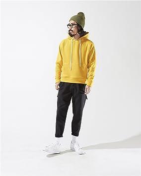 ndsoo Solid Hoodie Sudadera con Capucha Hombre Puro japones Calle Simple Textura Chaqueta con Capucha,Amarillo,M: Amazon.es: Deportes y aire libre