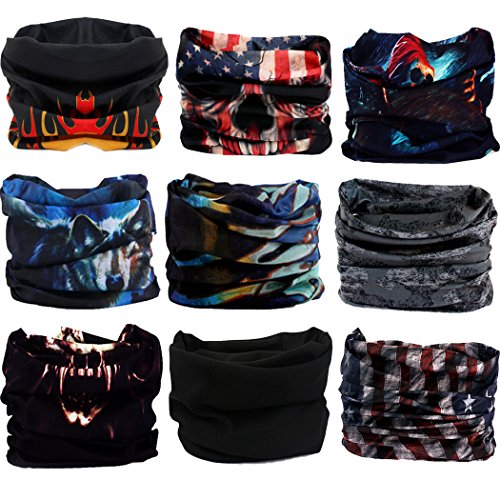 Headwear,Head Wrap, Neck Gaiter, Headband, Fishing Mask, Magic Scarf, Tube Mask, Face Bandana Mask, Neck Balaclava and Sport Scarf 12 in 1 Headband Sweatband for Fishing, Hiking, Running, Motorcycling ()