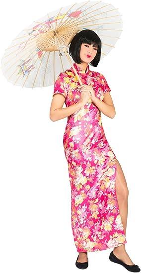 Disfraz de japonesa de color rosa con flores Mujer L: Amazon.es ...