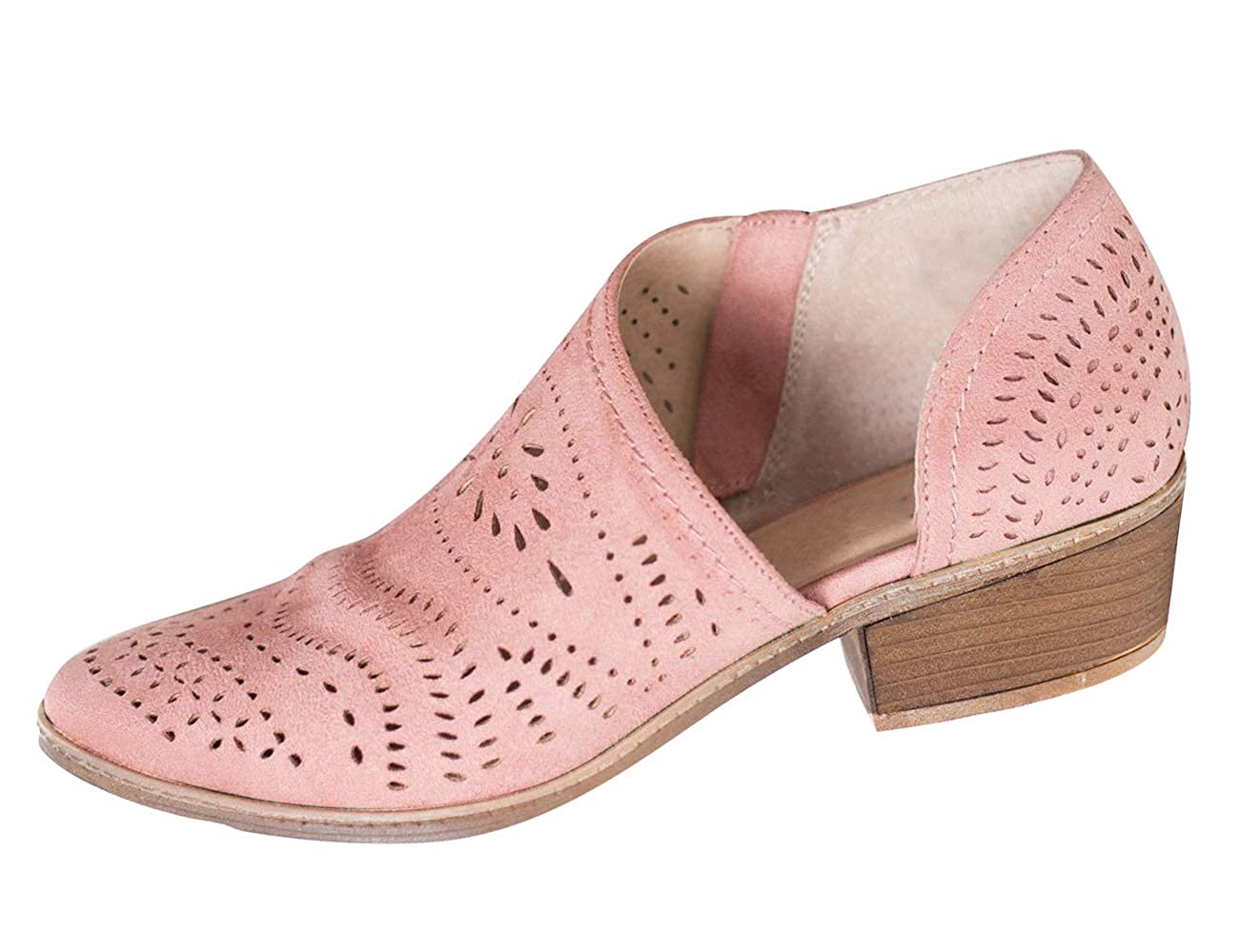 Pink XMWEALTHY Women's Ankle Boots Breathable Cut Out Side Zipper Slip On Loafers Platform shoes