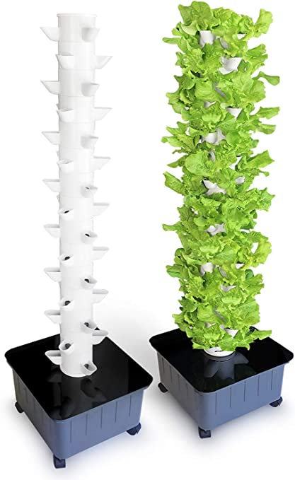 Amazon Com Suitemade 45 Plant Vertical Hydroponic Tower System With Internal Watering System Bpa Free Great For Growing A Variety Of Vegetables Herbs 45 Plants Garden Outdoor