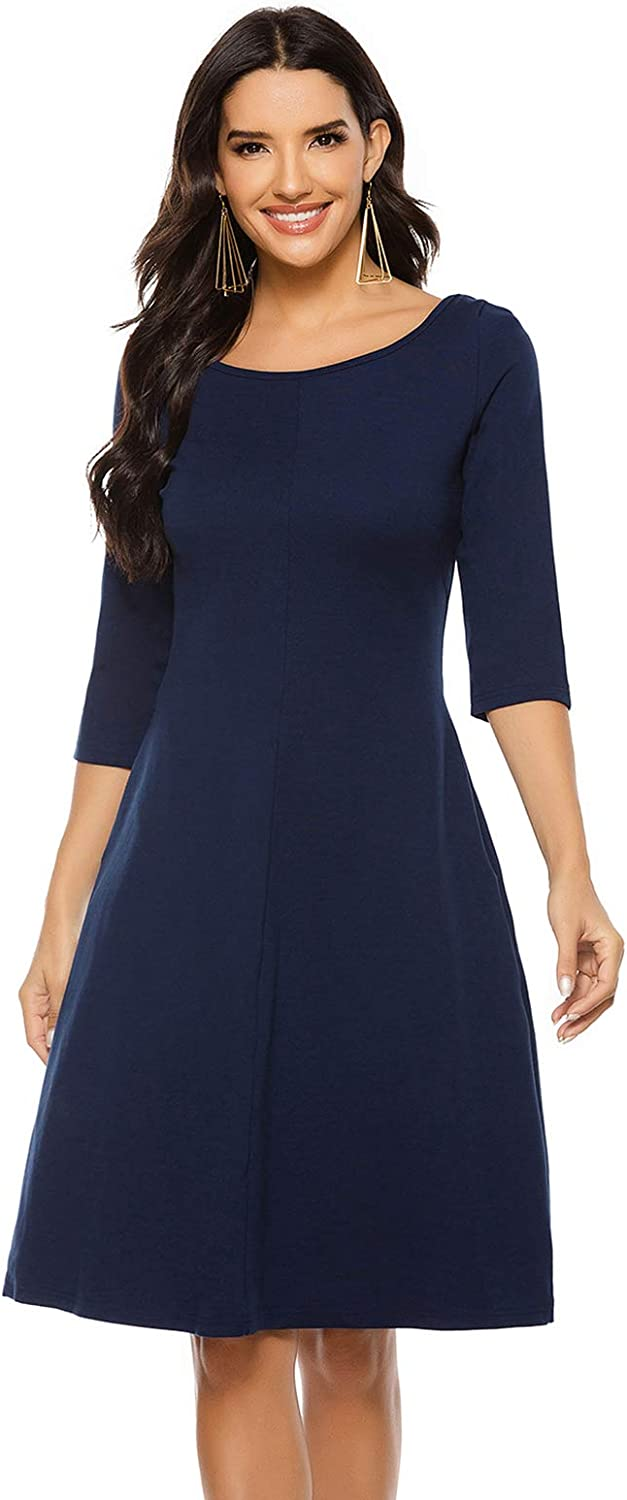 BIG ELEPHANT Professional Women 3/4 Sleeves A-Line Midi Dress for Office Work Cocktail Party with Pockets