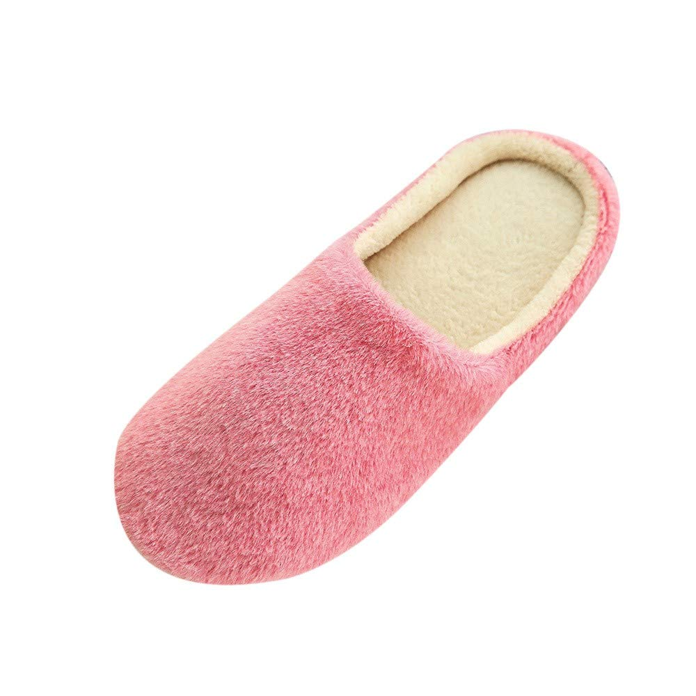 Women Plush Foam Slippers Men Slip-on House Shoes Indoor Outdoor Anti-Skid Pressure Relief Comfortable & Washable (Pink-Women, US 6-6.5)