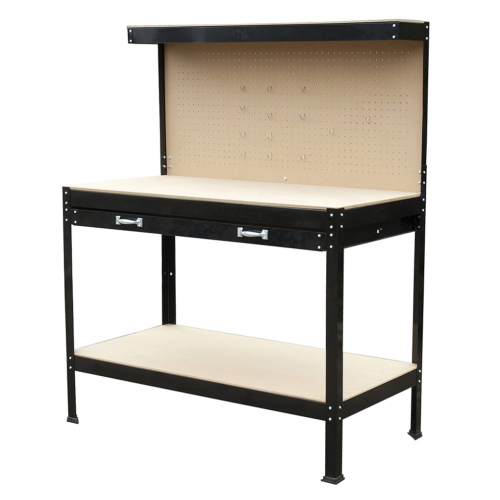 Wood Steel WorkBench Tools Table Home Work Bench Tool Storage