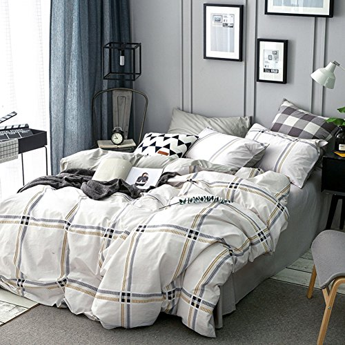 Bedding set 100% Cotton double bed sheet quilt cover gorgeous american european style lattice-E (Lattice European Sham)
