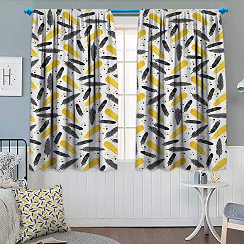 LONSANT Yellow Room Darkening Curtains Bird Feathers Patterns with Polka Dots Exotic Style Tribal Design Animal Print Decor Curtains by 63
