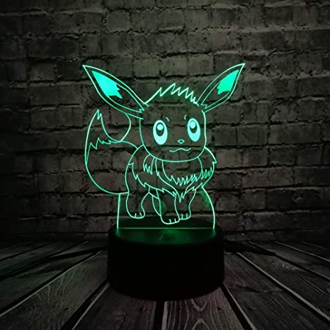KangYD Pokemon Eevee 3D LED Luz de noche, Lámpara colorida ...