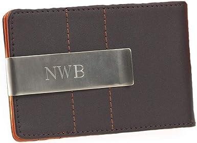Monogrammed Leather Wallet /& Money Clip BLACK OR BROWN