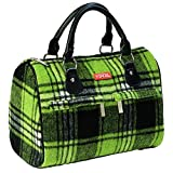 Sachi Woolies Green Plaid Insulated Lunch Tote