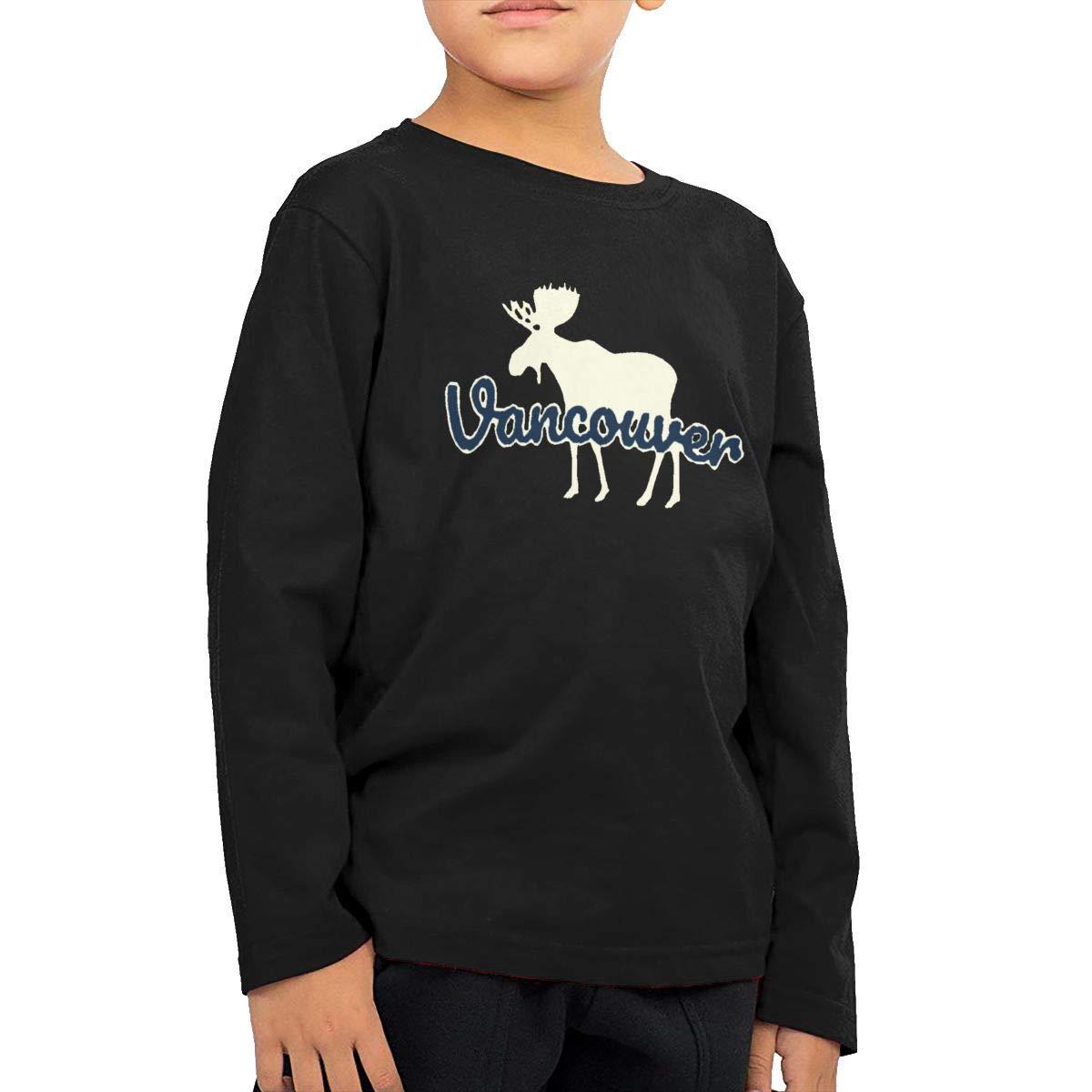 SKYAKLJA Vancouver Moose Childrens Black Cotton Long Sleeve Round Neck T-Shirt for Boy Or Girl