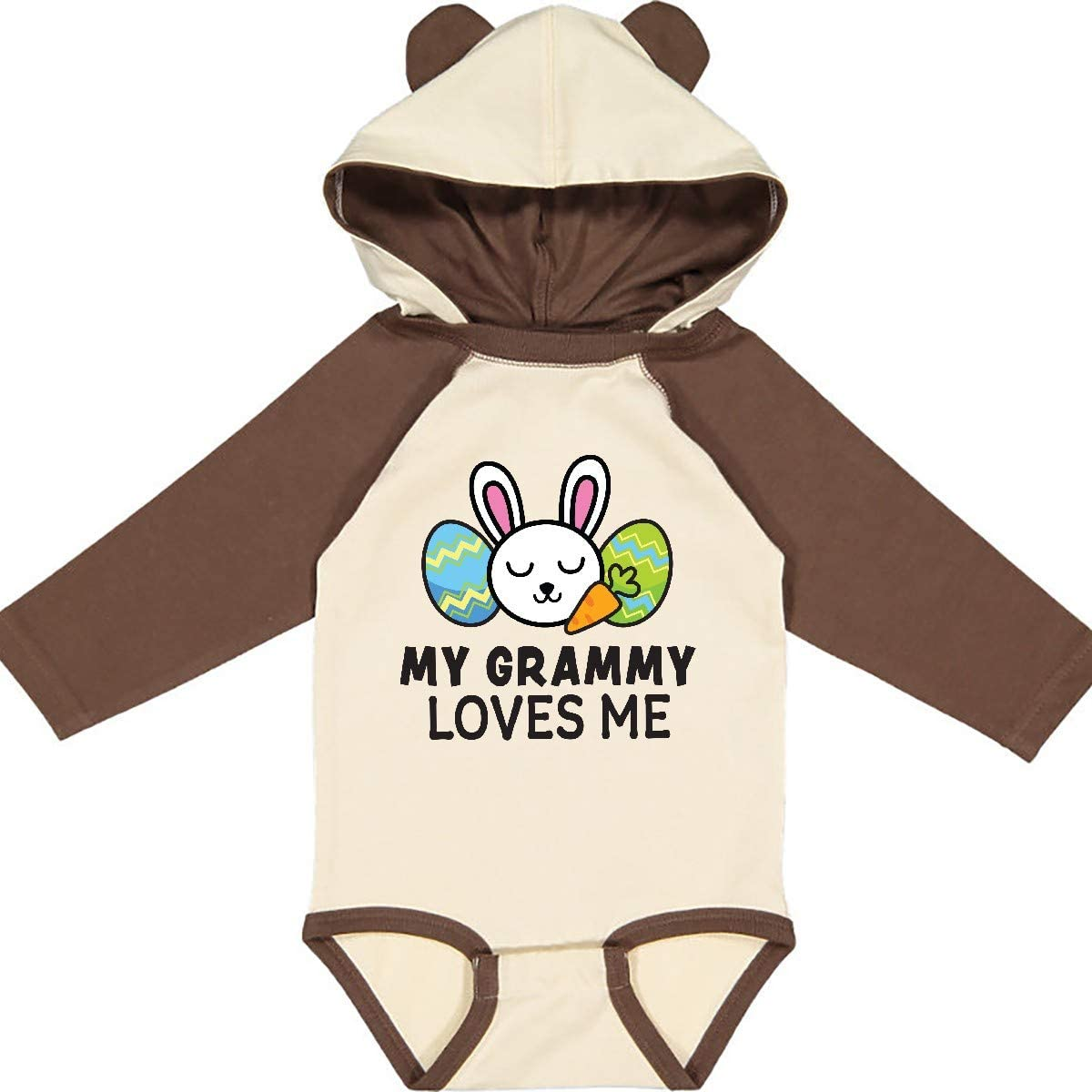 inktastic My Grammy Loves Me with Bunny and Easter Eggs Long Sleeve Creeper