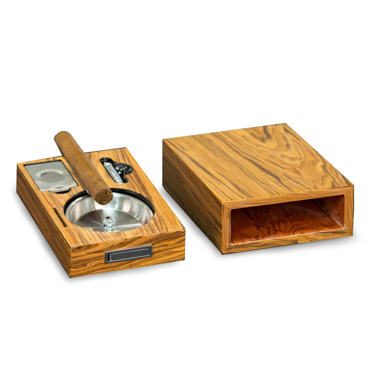 Bey-Berk Cigar Ashtray/Cutter/Punch Olive Wood Color by Bey-Berk