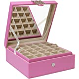 Glenor Co Classic 50-Section Jewelry Box Earring Holder with Large Mirror, Pink