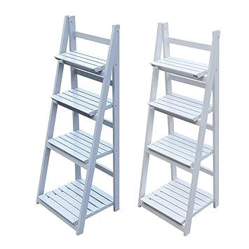 4 Tier gris o blanco acabado escalera estilo libre de pie pantalla ...