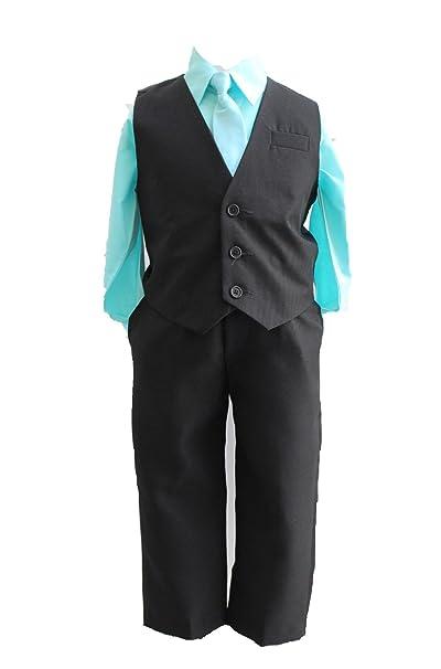 Amazon.com: Boys Menta Azul sólido Chaleco Set con corbata a ...